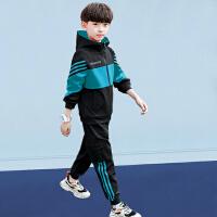 木木屋 男童套装2021新款春夏装二件套休闲男中大童儿童韩版运动帅气校园