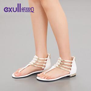 exull/依思Q夏新款凉鞋女休闲低跟鞋夹趾罗马鞋