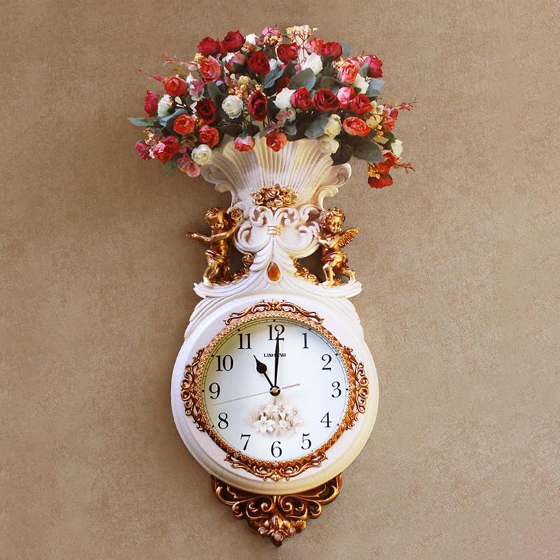 家居墙上装饰品创意艺术挂钟 欧式复古客厅钟表挂饰墙饰壁饰花艺