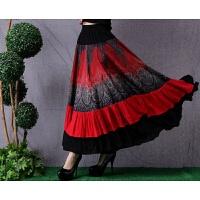 秋冬新款民族风女装 5米大摆亚麻印花拼接半身长裙棉麻半身裙 红色 均码