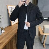 新款秋冬时尚休闲复古中国风时尚条纹西装男修身休闲西服两件套