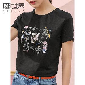 熙世界短袖创意图色印花T恤女2019春夏新款韩版通勤上衣女ST026