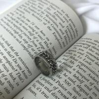韩版戒指男士钛钢食指环男单身戒子饰品配饰尾戒可转动