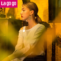 【6.29日限时秒杀价60】Lagogo/拉谷谷2017年秋季新款时尚纯色长袖针织衫