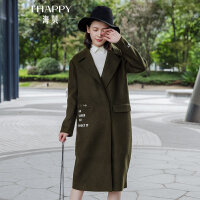 海贝2017冬季新款女装外套 西装领暗扣中长款字母绣花羊毛呢大衣