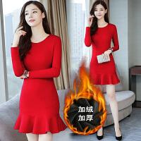 秋装新款女装韩版加绒修身显瘦长袖红色礼服荷叶边鱼尾连衣裙