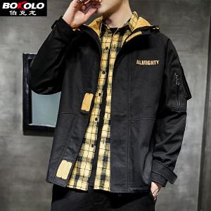 伯克龙 男士外套牛仔服装加厚款秋冬季修身微弹力青少年潮短款休闲外套D616
