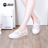 jm快乐玛丽2018春季平底舒适套脚经典休闲时尚帆布鞋小白鞋女鞋子61881W