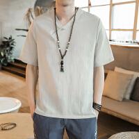 中国风男装 短袖复古风t恤亚麻棉麻改良汉服男 青年古风上衣男