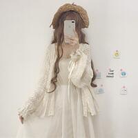 夏季女装韩版宽松中长款镂空雪纺蕾丝衫防晒衣长袖开衫外套上衣薄 杏色 均码