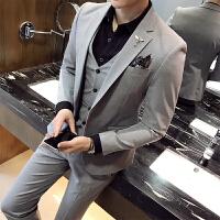 18秋冬男士潮流弹力微滑面料西服套装韩版修身青年西装三件套
