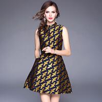 秋季连衣裙新款欧洲站奢华金色提花名媛礼服裙打底无袖背心裙