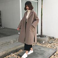 秋冬新款韩版开叉宽松中长款呢子大衣加厚翻领毛呢外套女学生