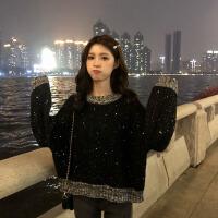 2018新款秋冬女装韩版潮流慵懒风宽松闪光撞色网红套头毛衣针织衫外套 均码