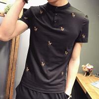 夏季短袖T恤男S码韩版立领修身潮流小刺绣休闲短袖半袖T恤POLO