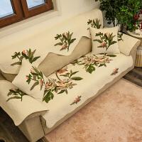田园布艺防滑沙发垫子四季通用鲁绣沙发罩沙发巾沙发扶手巾靠背巾