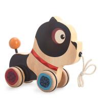 美国B.Toys木制小狗小猪拖拉玩具手拉学步爬行期宝宝木制益智玩具