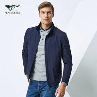 七匹狼夹克 2017新款中青年外套夹克男jacket正装茄克【薄棉】