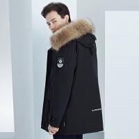 雅鹿中长羽绒服男2019新款貉子毛领冬装加厚休闲中年男冬季外套M