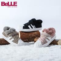 【2件3折后到手价:164.4元】百丽Belle童鞋18冬季新款牛皮质感经典贝壳头休闲鞋女童学生鞋加绒保暖防滑运动鞋(