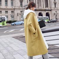 2018秋冬新款零羊绒双面呢子大衣两件套装中长款毛呢外套女AF8227