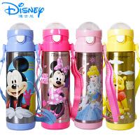 迪士尼儿童水杯保温吸管杯米奇婴儿水壶不锈钢背带5654