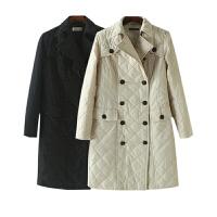 女装秋装新潮 韩版纯色双排扣子长袖棉衣女中长