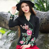 中国风春装新款立领刺绣花上衣 民族风长袖打底衫大码T恤衫女