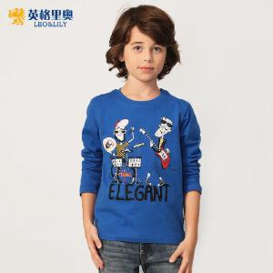 2018春装新款男童圆领套头蓝色长袖T恤童装中大童卡通宽松打底衫