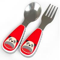 美国skip hop儿童叉勺餐具套装宝宝不锈钢动物园叉子勺子餐具套装