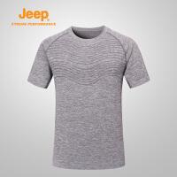 【特惠价】Jeep/吉普 男士户外运动速干衣透气排汗圆领短袖速干T恤J822094521