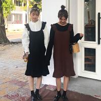 学院风木耳边吊带裙女装韩版春装学生闺蜜装连衣裙打底裙针织裙子