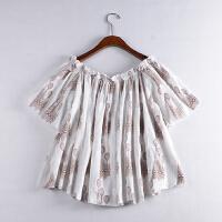 C*13 时尚2018新春季韩版女装一字领花色雪纺上衣