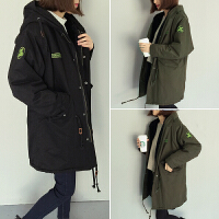 慈姑秋冬韩版学生加绒加厚抽绳贴布连帽风衣女中长款宽松外套夹克上衣