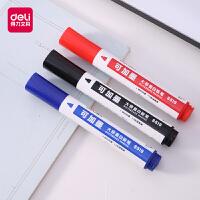 得力白板笔记号笔可擦大容量加墨水性笔蓝红黑色办公会议笔儿童涂鸦画板笔粗头大号教师用易擦白版笔写字板笔