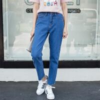 2017夏季新款牛仔裤女直筒宽松高腰韩版学生简约毛边九分裤女