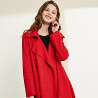 2018春装新品 大翻领纯色简约长袖针织呢羊毛大衣中长外套女