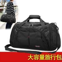 新款旅行包男手提大容量短途出差防水旅游包单肩行李包运动健身包 黑色 大