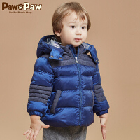 【1件4折 2件3折到手价:389】Pawinpaw宝英宝小熊童装冬款男宝拼色羽绒服婴儿冬装防寒外套