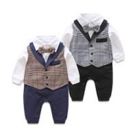 连体衣春装男宝宝装哈衣婴儿西服绅士