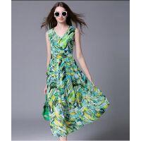 16新款波西米亚海边度假沙滩裙吊带长裙甜美修身显瘦丝棉连衣裙女