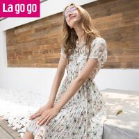 【每满200减100】Lagogo2017夏季新款碎花雪纺连衣裙女收腰小清新百褶裙中长款裙子