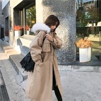 工装女2018新款中长款冬季保暖韩版宽松bf外套收腰过膝大毛领棉衣
