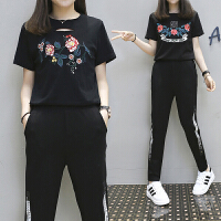 加肥加大码女装胖mm时尚休闲套装女夏胖妹妹绣花T恤哈伦裤两件套