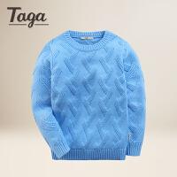 TAGA童装 男童毛衣春秋款儿童中厚纯色套头毛衫打底衫8-9岁