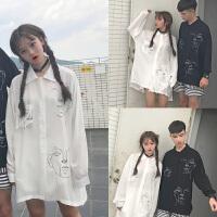 白色衬衫女中长款春季新款bf韩版印花长袖衬衣大码胖mm200斤