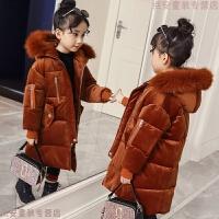 女童金丝绒棉衣2018新款大毛领儿童加厚中长款女孩棉袄冬装潮