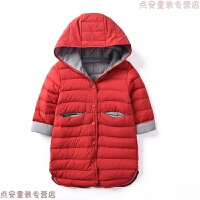 白鹅绒90绒儿童中长款羽绒服 男童女童轻便连帽棉袄 冬装