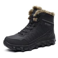 男冬季保暖加绒2018新款户外登山靴子男士加厚棉靴皮毛一体