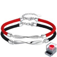 纯银情侣手链一对韩版学生男女红绳简约可刻字礼物端午节五彩绳